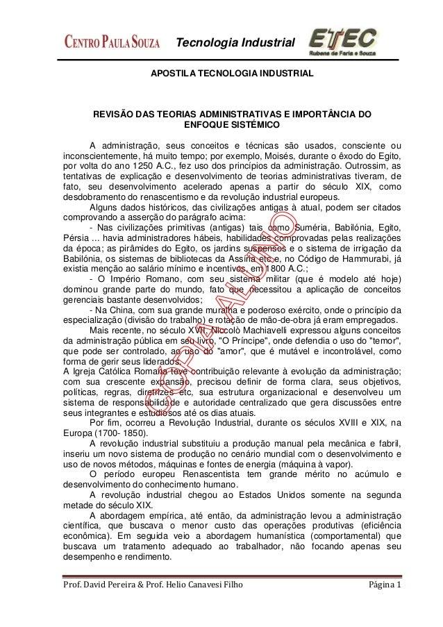 Tecnologia Industrial Prof. David Pereira & Prof. Helio Canavesi Filho Página 1 APOSTILA TECNOLOGIA INDUSTRIAL REVISÃO DAS...