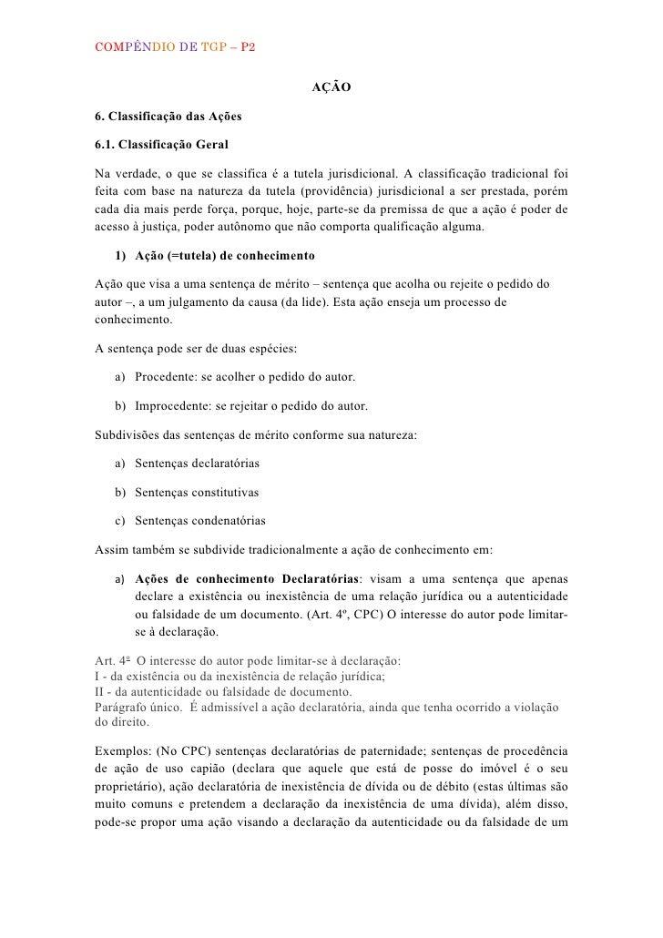 COMPÊNDIO DE TGP – P2                                         AÇÃO6. Classificação das Ações6.1. Classificação GeralNa ver...