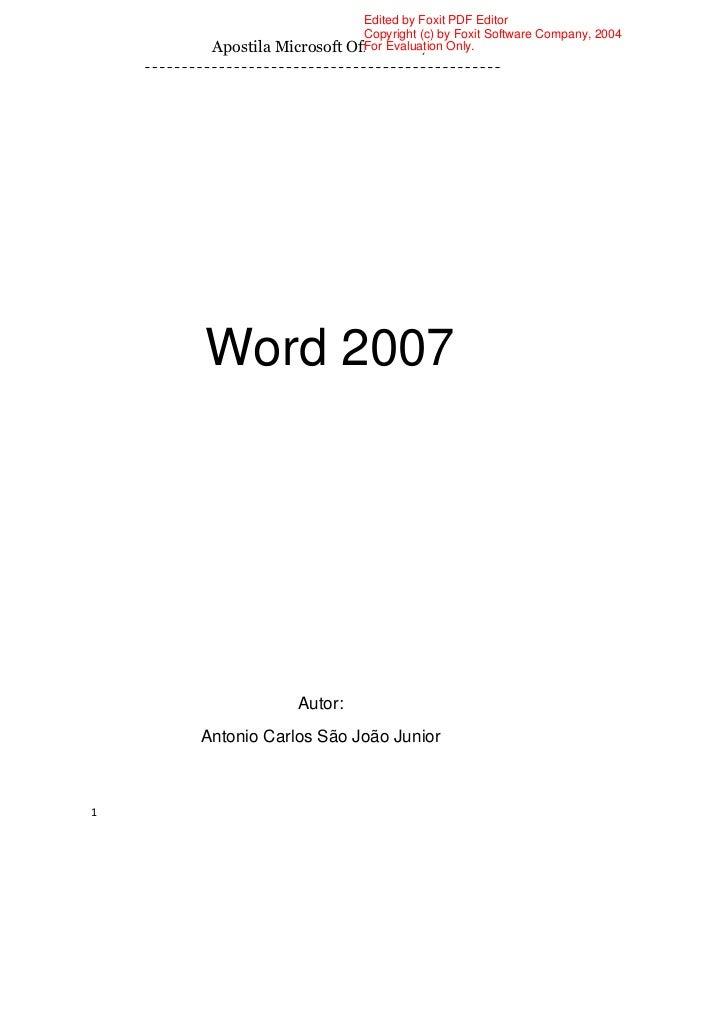 Edited by Foxit PDF Editor                            Copyright (c) by Foxit Software Company, 2004     Apostila Microsoft...