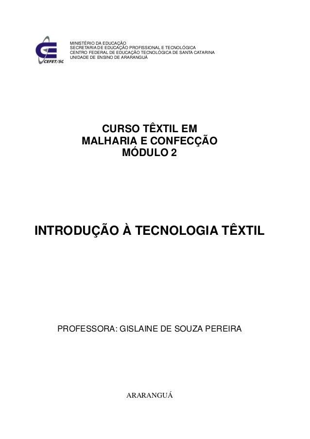 MINISTÉRIO DA EDUCAÇÃO SECRETARIA DE EDUCAÇÃO PROFISSIONAL E TECNOLÓGICA CENTRO FEDERAL DE EDUCAÇÃO TECNOLÓGICA DE SANTA C...