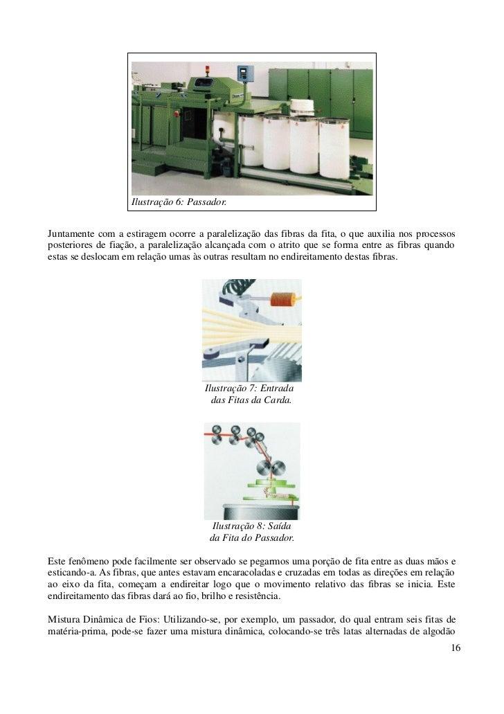Ilustração 6: Passador.Juntamente com a estiragem ocorre a paralelização das fibras da fita, o que auxilia nos processospo...