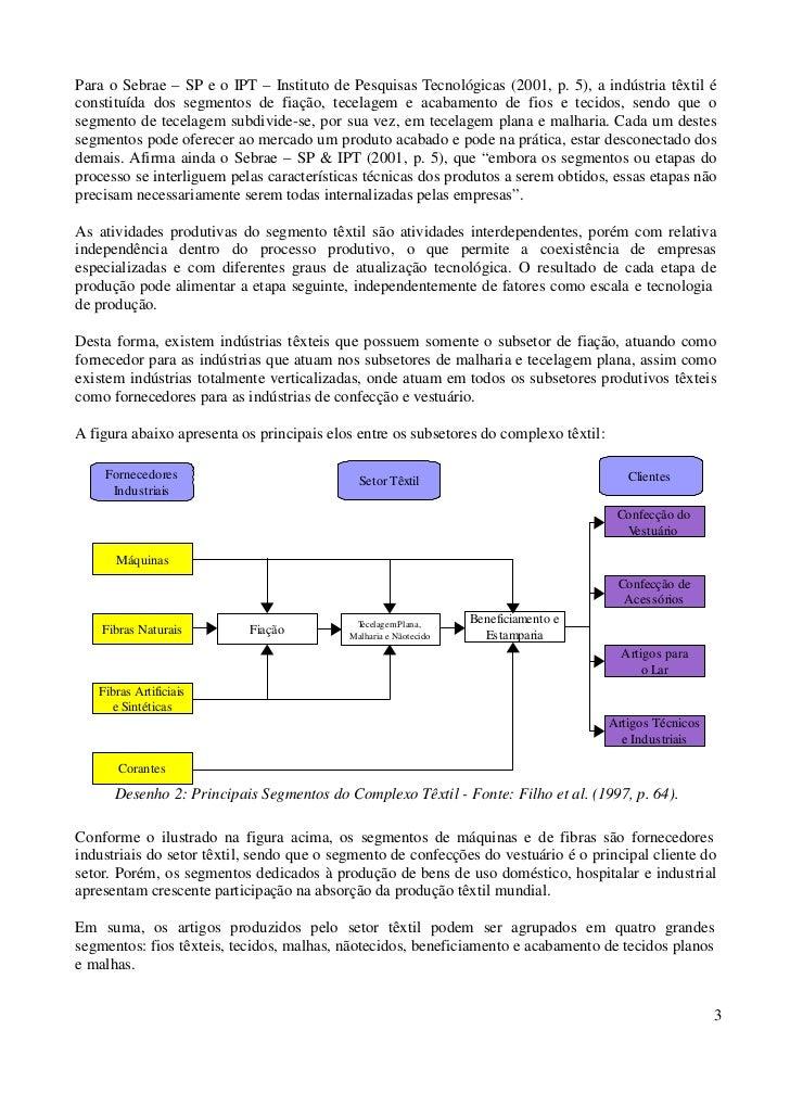Para o Sebrae – SP e o IPT – Instituto de Pesquisas Tecnológicas (2001, p. 5), a indústria têxtil éconstituída dos segment...