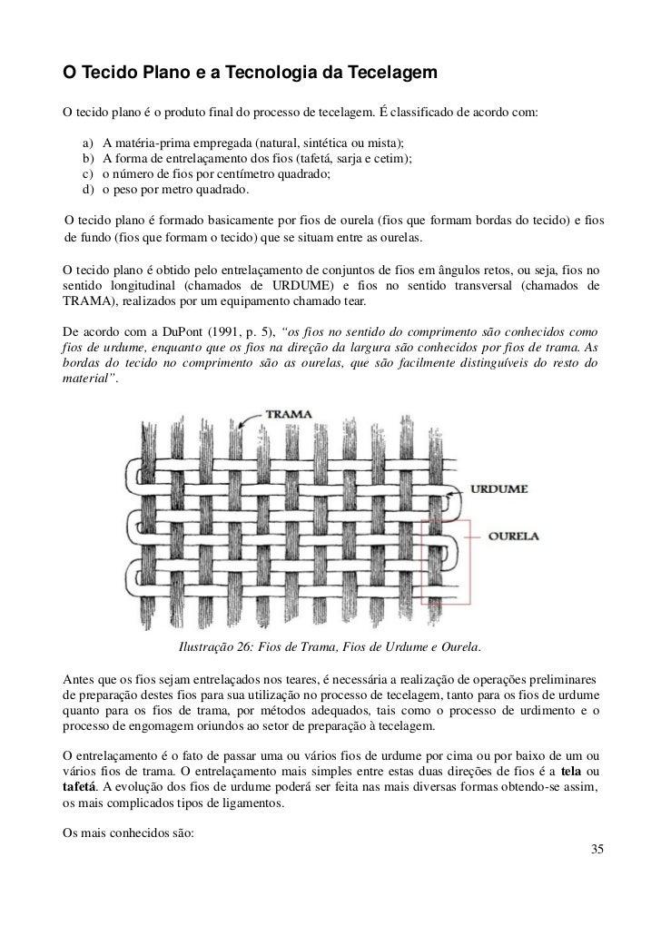 O Tecido Plano e a Tecnologia da TecelagemO tecido plano é o produto final do processo de tecelagem. É classificado de aco...