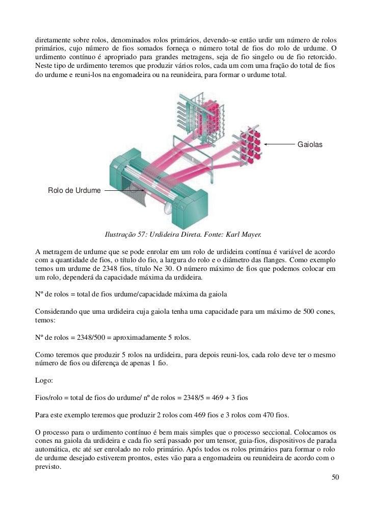diretamente sobre rolos, denominados rolos primários, devendo-se então urdir um número de rolosprimários, cujo número de f...