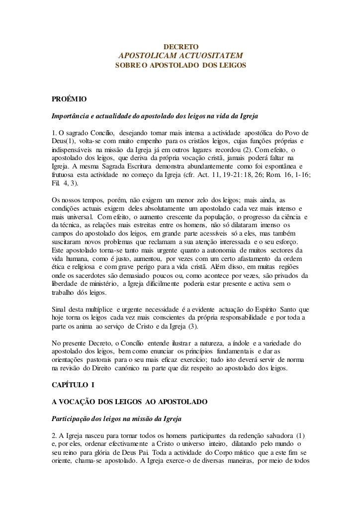 DECRETO                       APOSTOLICAM ACTUOSITATEM                      SOBRE O APOSTOLADO DOS LEIGOSPROÉMIOImportânci...