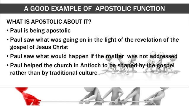 A GOOD EXAMPLE OF APOSTOLIC FUNCTION WHAT IS APOSTOLIC ABOUT IT? • Paul is being apostolic • Paul saw what was going on in...
