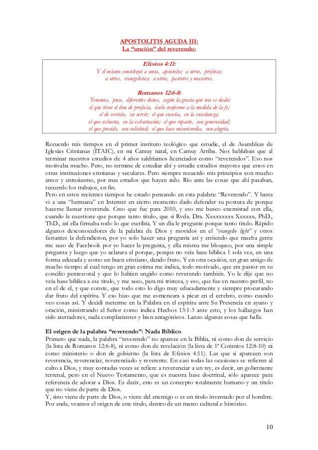 """APOSTOLITIS AGUDA III:                                  La """"unción"""" del reverendo:                                        ..."""