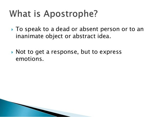 Figurative Language - Apostrophe