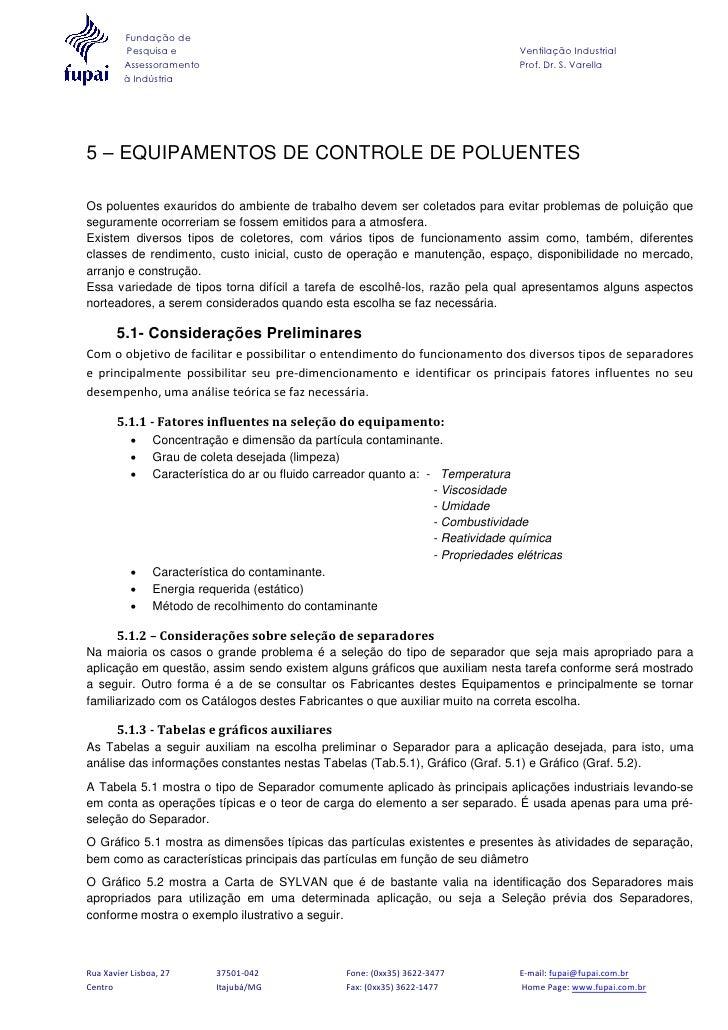 Fundação de         Pesquisa e                                                                 Ventilação Industrial      ...