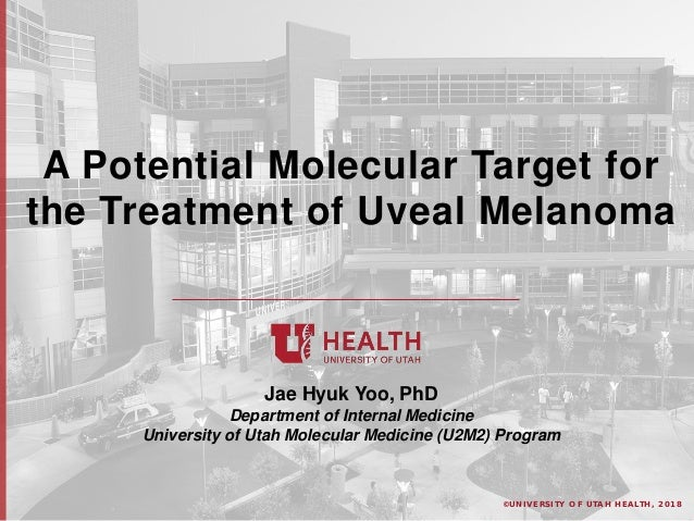 © U N I V E R S I T Y O F U T A H H E A L T H , 2 0 1 8 A Potential Molecular Target for the Treatment of Uveal Melanoma J...