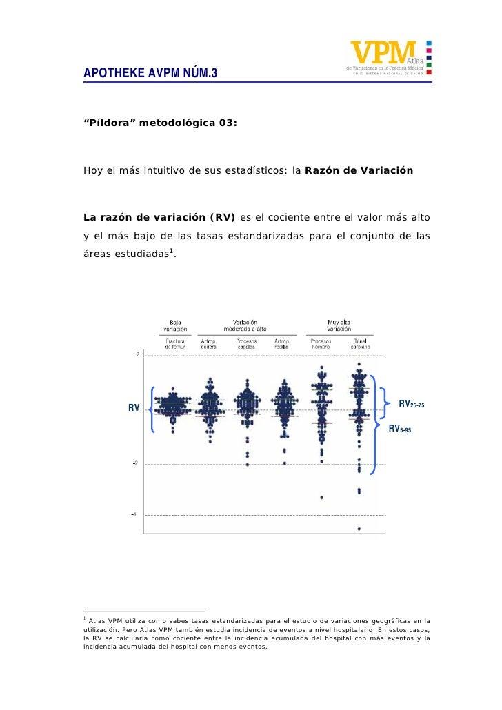 """APOTHEKE AVPM NÚM.3   """"Píldora"""" metodológica 03:    Hoy el más intuitivo de sus estadísticos: la Razón de Variación    La ..."""