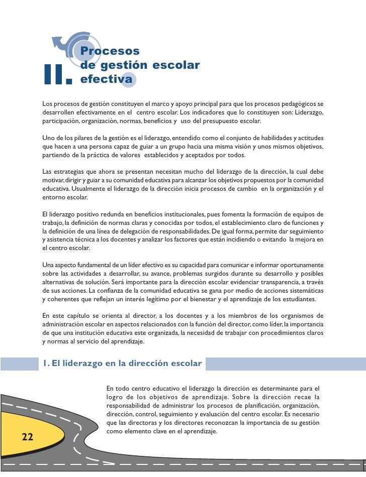 Procesos       II.                    de gestión escolar                    efectiva      Los procesos de gestión constitu...