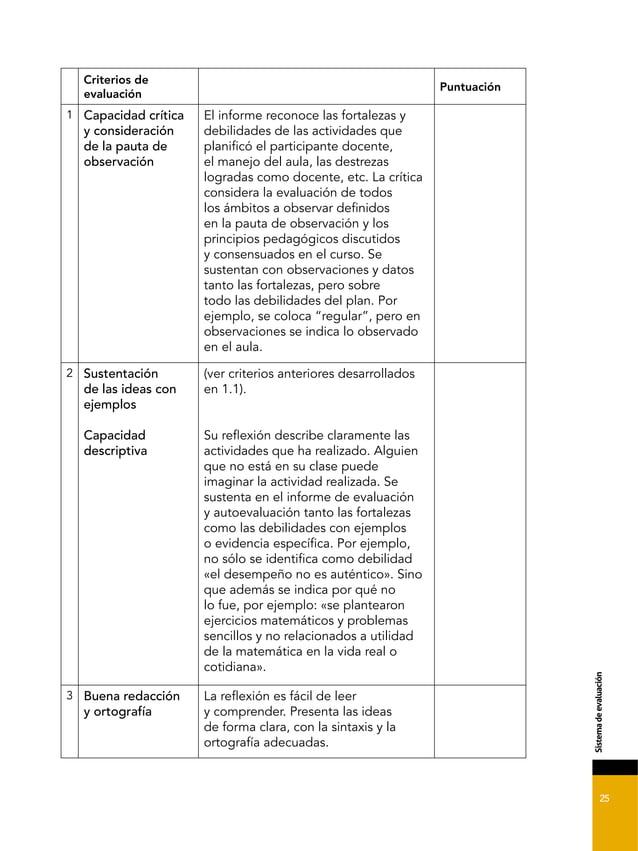 25 &*2-'+.%0'%'4./).1*7, Criterios de evaluación Puntuación 1 Capacidad crítica y consideración de la pauta de observación...