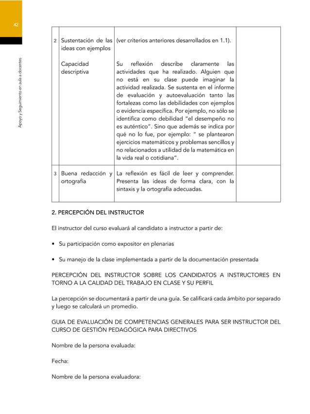 42 ApoyoySeguimientoenaulaadocentes 2 Sustentación de las ideas con ejemplos Capacidad descriptiva (ver criterios anterior...