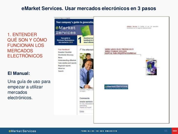 eMarket Services. Usar mercados elecrónicos en 3 pasos1. ENTENDERQUÉ SON Y CÓMOFUNCIONAN LOSMERCADOSELECTRÓNICOSEl Manual:...
