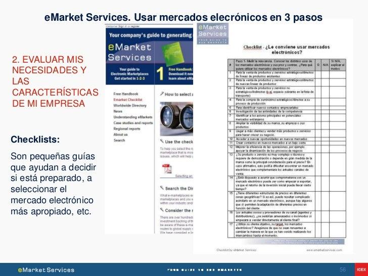 eMarket Services. Usar mercados elecrónicos en 3 pasos2. EVALUAR MISNECESIDADES YLASCARACTERÍSTICASDE MI EMPRESAChecklists...