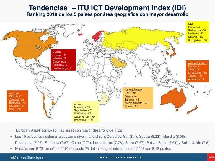 Tendencias – ITU ICT Development Index (IDI)                Ranking 2010 de los 5 países por área geográfica con mayor des...