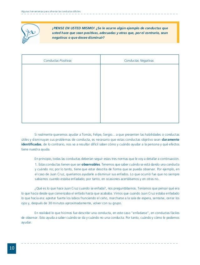 Conductas interior 1.FH11 Tue Nov 13 11:52:30 2007 Página 10 10 Algunas herramientas para afrontar las conductas difíciles...