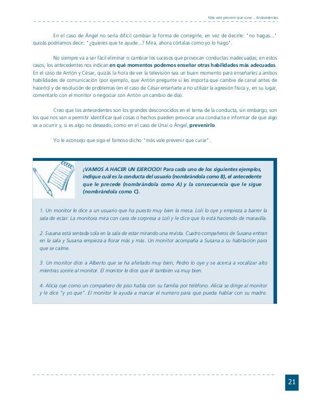 Conductas interior 1.FH11 Tue Nov 13 11:52:30 2007 Página 21 21 Más vale prevenir que curar... Antecedentes En el caso de ...