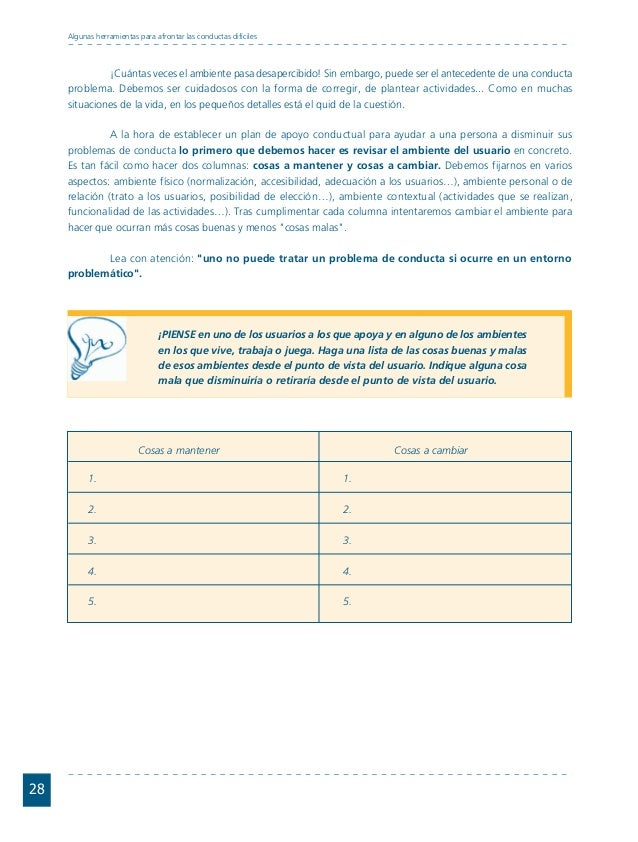Conductas interior 1.FH11 Tue Nov 13 11:52:30 2007 Página 28 28 Algunas herramientas para afrontar las conductas difíciles...