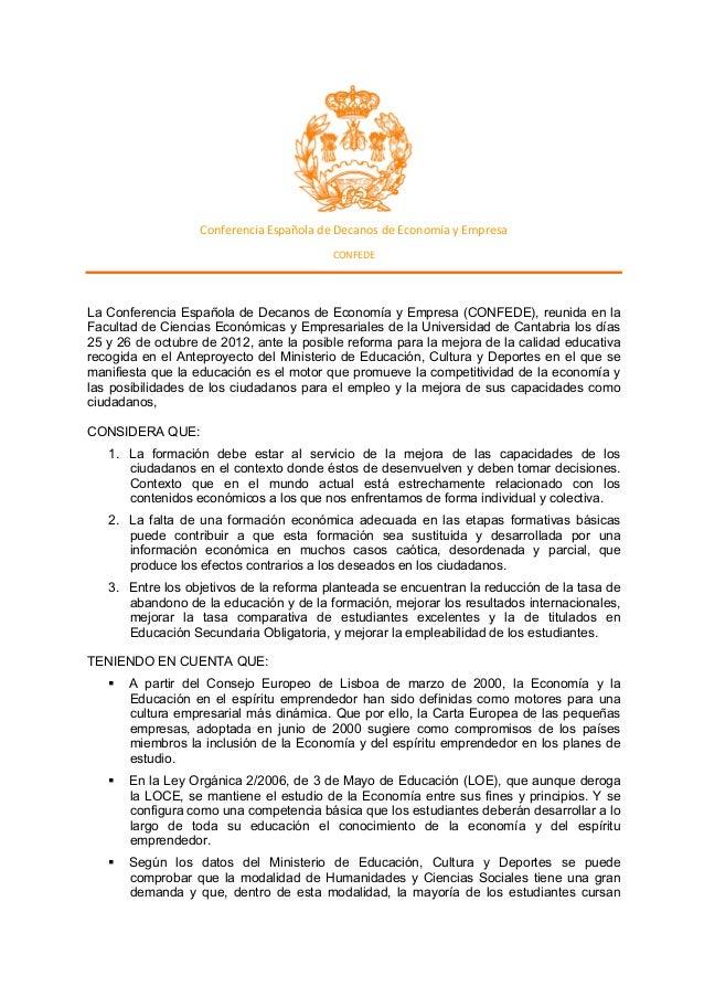Conferencia  Española  de  Decanos  de  Economía  y  Empresa   CONFEDE       La Conferencia Española...