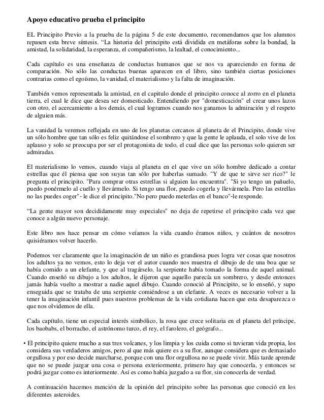 Apoyo educativo prueba el principito EL Principito Previo a la prueba de la página 5 de este documento, recomendamos que l...