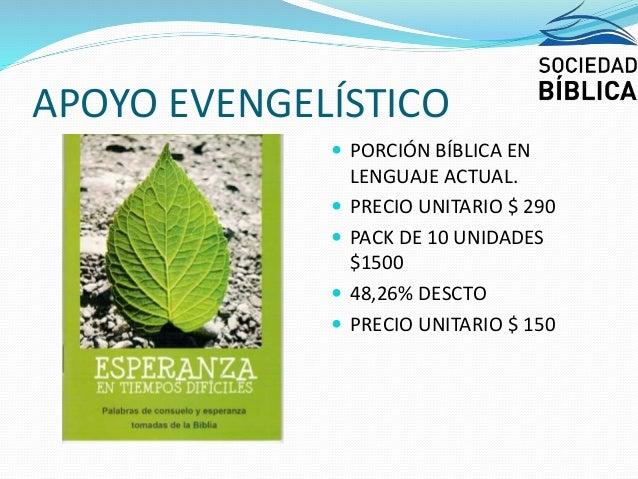 APOYO EVENGELÍSTICO  PORCIÓN BÍBLICA EN LENGUAJE ACTUAL.  PRECIO UNITARIO $ 290  PACK DE 10 UNIDADES $1500  48,26% DES...