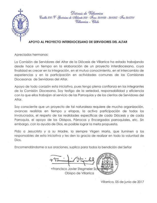 Carta de Monseñor Francisco Javier Stegmeier.