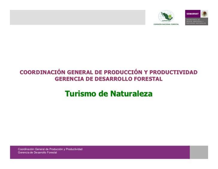 COORDINACIÓN GENERAL DE PRODUCCIÓN Y PRODUCTIVIDAD           GERENCIA DE DESARROLLO FORESTAL                              ...