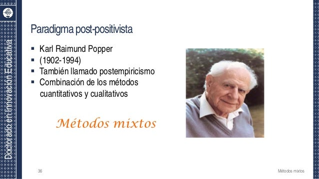 DoctoradoenInnovaciónEducativa Paradigmapost-positivista  Karl Raimund Popper  (1902-1994)  También llamado postempiric...