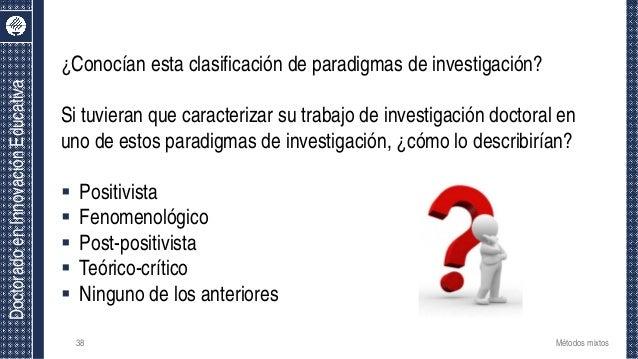 DoctoradoenInnovaciónEducativa ¿Conocían esta clasificación de paradigmas de investigación? Si tuvieran que caracterizar s...