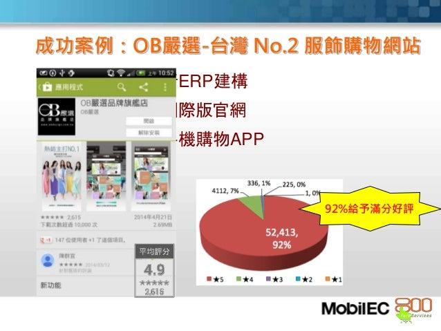 新ERP建構 國際版官網 手機購物APP 成功案例:OB嚴選-台灣 No.2 服飾購物網站 92%給予滿分好評