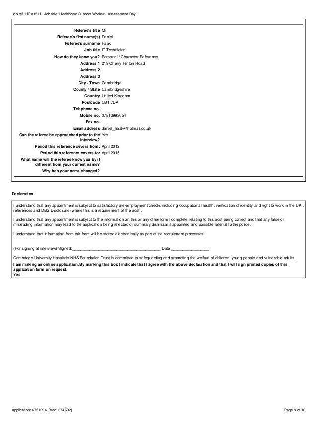 Health Care Assistant Application Form
