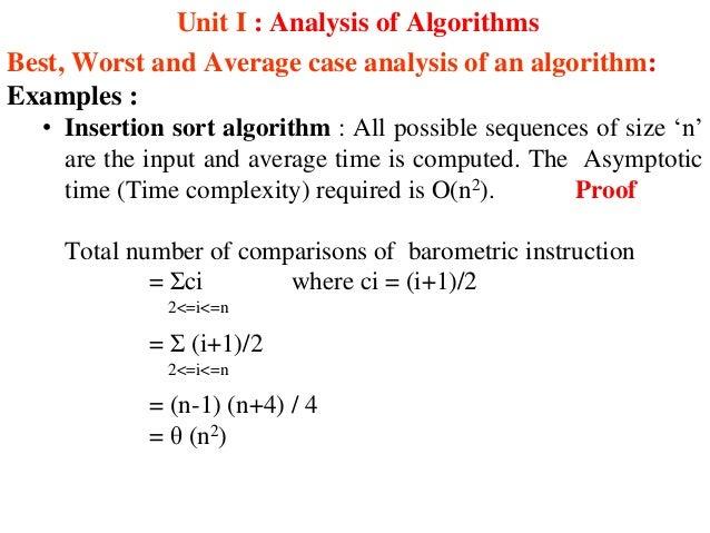 Analysis of insertion sort