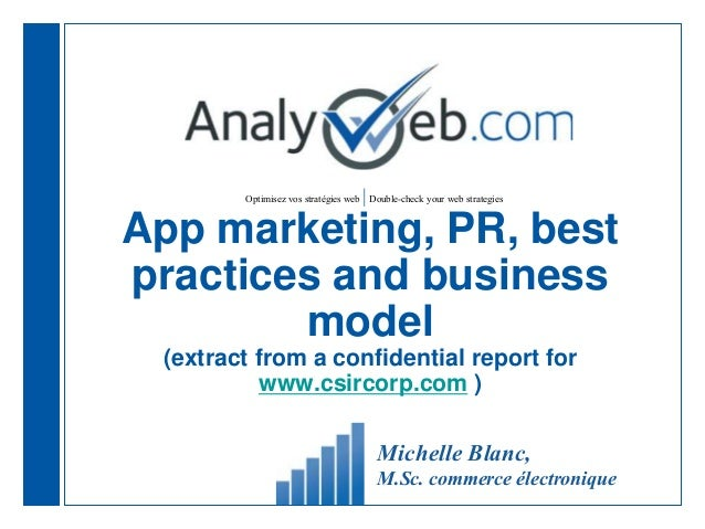 Optimisez vos stratégies web |Double-check your web strategies App marketing, PR, best practices and business model (extra...
