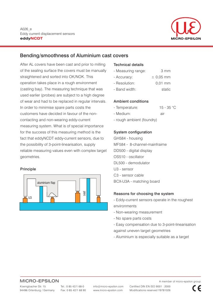 A026_eEddy current displacement sensorseddyNCDTBending/smoothness of Aluminium cast coversAfter AL covers have been cast a...