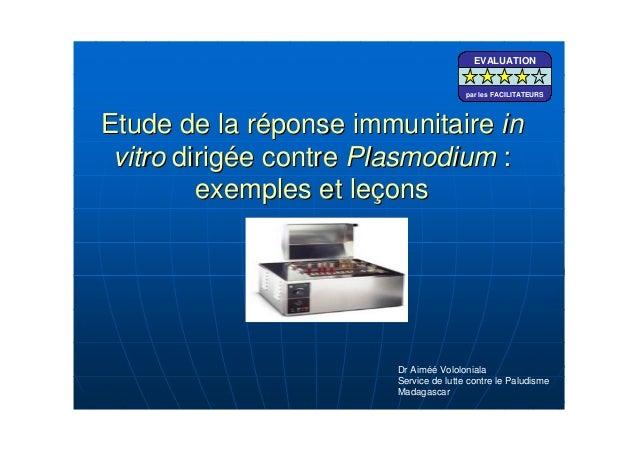 Etude de la rEtude de la rééponse immunitaireponse immunitaire ininvitrovitro dirigdirigéée contree contre PlasmodiumPlasm...
