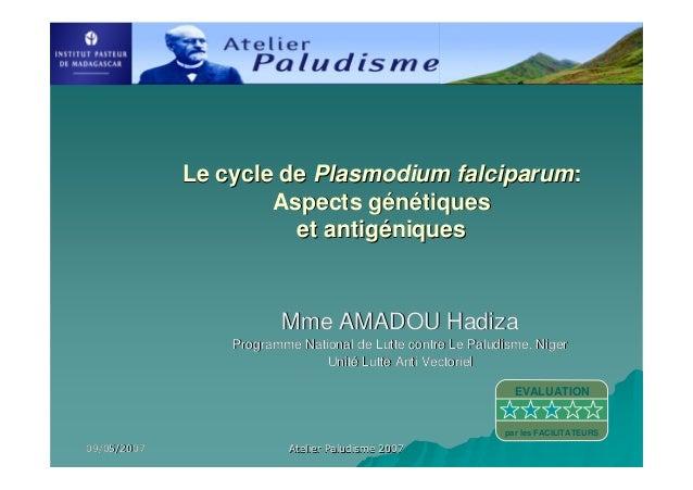 09/05/200709/05/2007 Atelier Paludisme 2007Atelier Paludisme 2007Mme AMADOU HadizaMme AMADOU HadizaProgramme National de L...