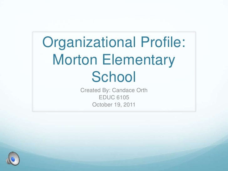 Organizational Profile: Morton Elementary       School      Created By: Candace Orth            EDUC 6105          October...