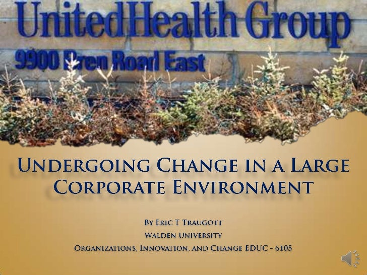 Undergoing Change in a Large Corporate Environment<br />By Eric T Traugott<br />Walden University<br />Organizations, Inno...