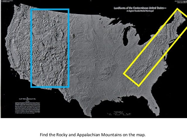 find the rocky and appalachian mountains on the map