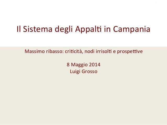 Il  Sistema  degli  Appal/  in  Campania      Massimo  ribasso:  cri/cità,  nodi  irrisol/  e  p...