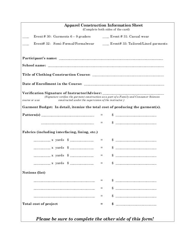Apparel construction info sheet skills selection chart for Selection sheet for home selections for builders