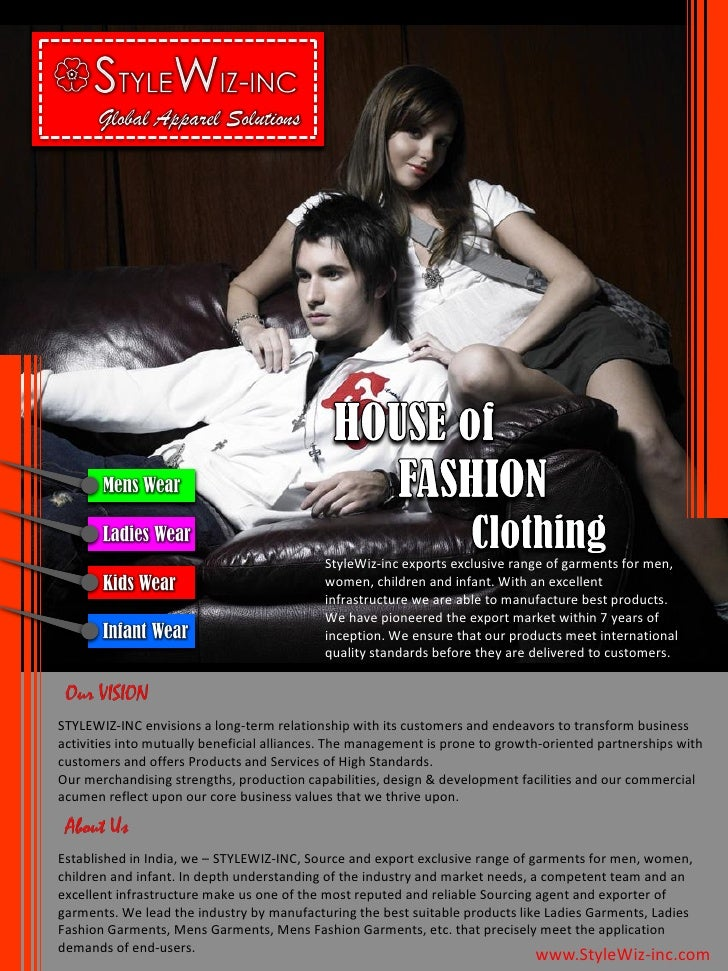 StyleWiz-inc exports exclusive range of garments for men,                                             women, children and ...