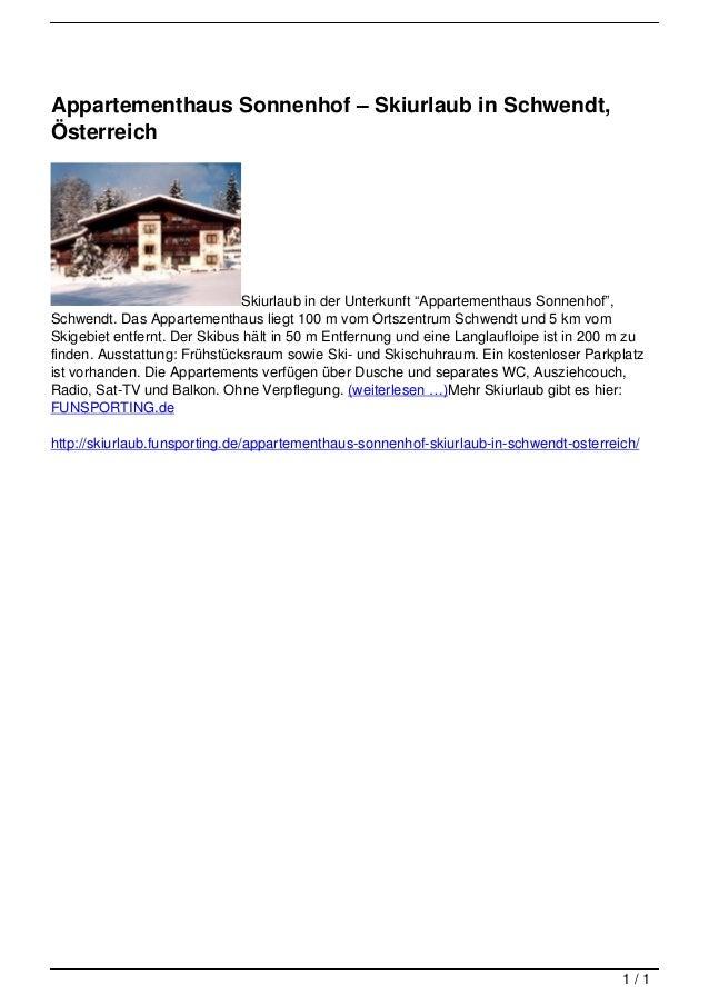 Appartementhaus Sonnenhof – Skiurlaub in Schwendt,                                   Österreich                           ...