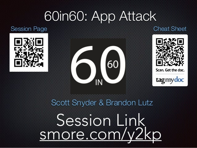 Cheat Sheet 60in60: App Attack Session Link smore.com/y2kp Session Page Scott Snyder & Brandon Lutz