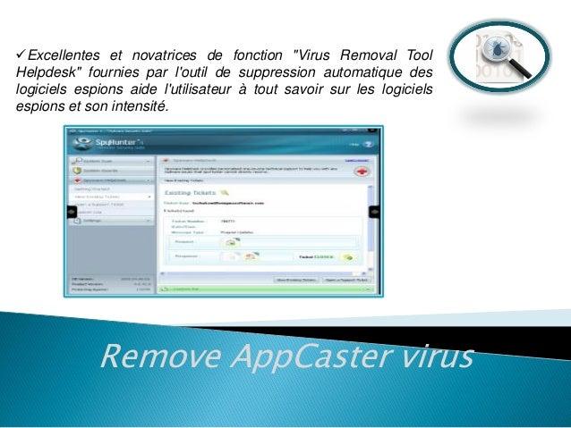 """Excellentes et novatrices de fonction """"Virus Removal Tool Helpdesk"""" fournies par l'outil de suppression automatique des l..."""