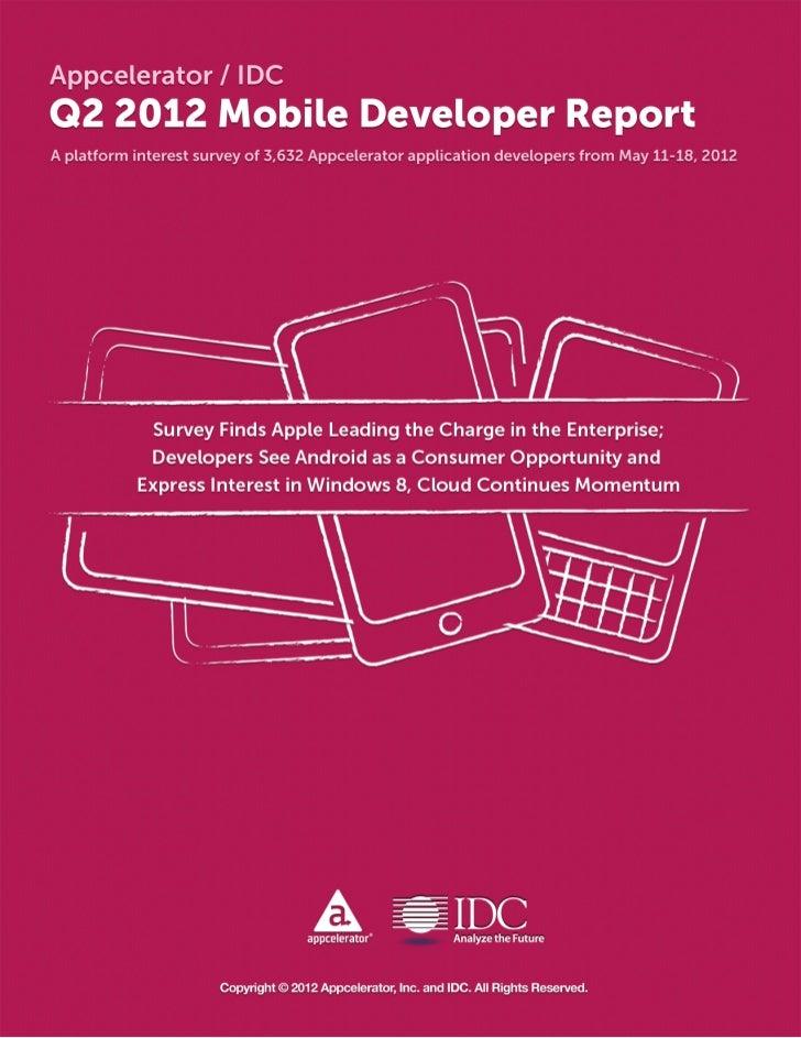 Appcelerator / IDCQ2 2012 Mobile Developer ReportSummaryAppcelerator and IDC surveyed 3,632 Appcelerator Titanium develope...