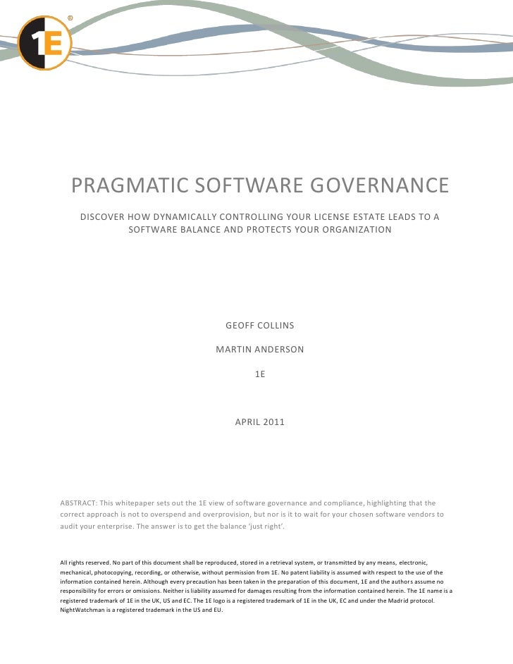 PRAGMATIC SOFTWARE GOVERNANCE       DISCOVER HOW DYNAMICALLY CONTROLLING YOUR LICENSE ESTATE LEADS TO A                SOF...