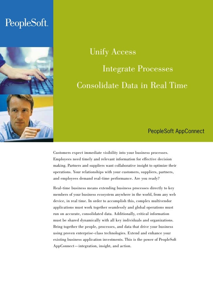 Unify Access                               Integrate Processes               Consolidate Data in Real Time                ...